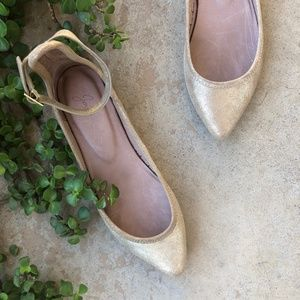 Joie Champagne Metallic Temple Pointed Flats
